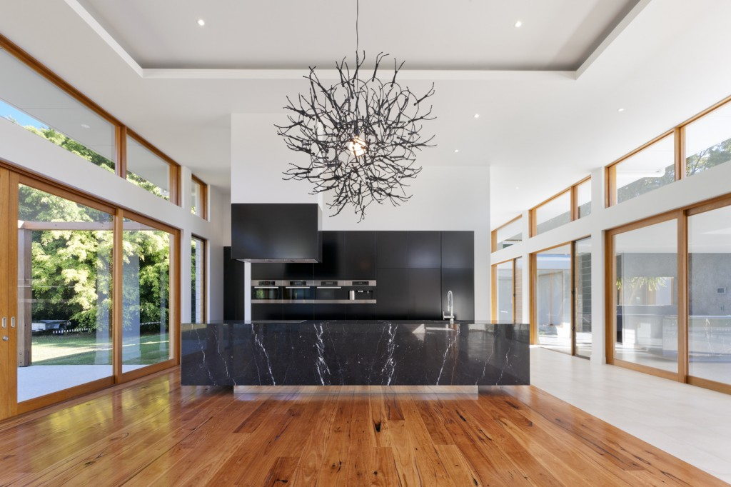 Contemporary kitchen design with black marble countertop | Revuu: Search for Excellence in Luxury Interiors