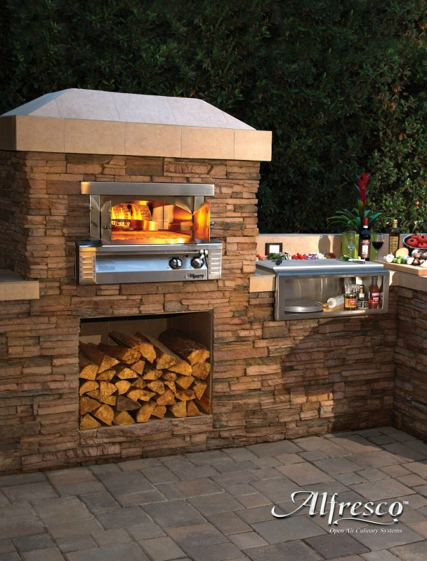Medium image of outdoor kitchen appliances  alfresco pizza oven plus   revuu  search for excellence in luxury