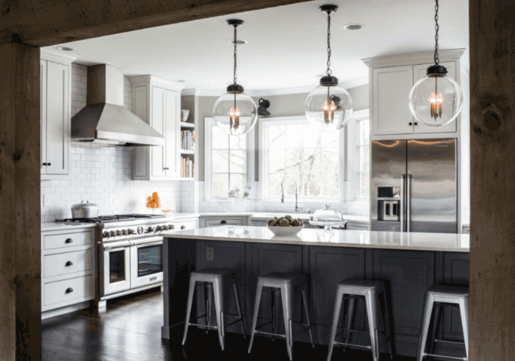 Grey Pendant Lights Over Kitchen Island