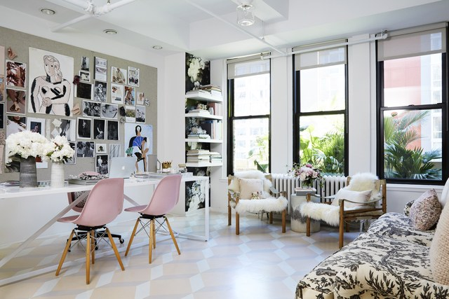 Rebecca Taylor's newly renovated office features stunning hand painted floors
