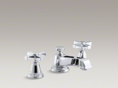 Pinstripe 174 Pure Widespread Bathroom Sink Faucet With Cross